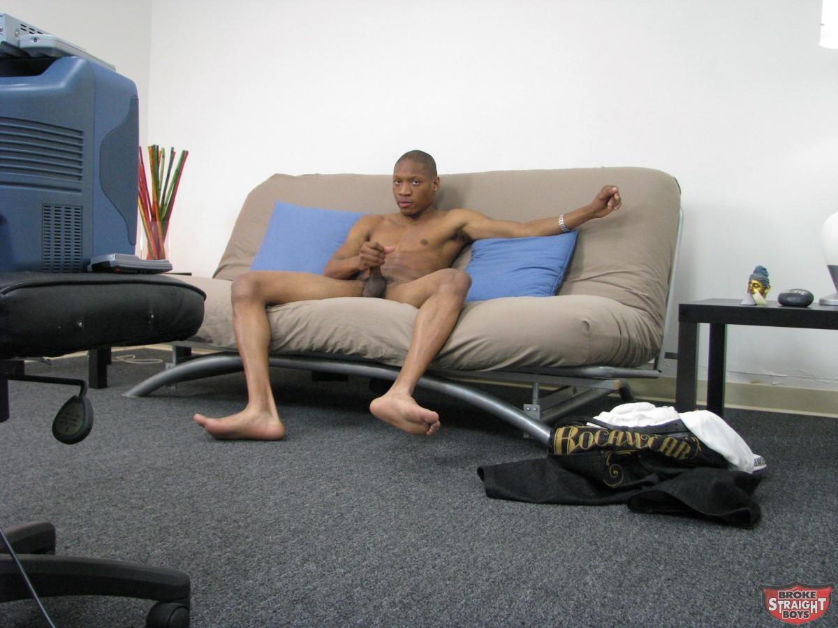 As he kept wanking off, Jamal stood up with one foot on the futon, ...